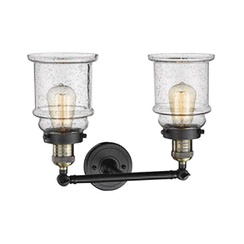 "Canton 11""H Black and Brass 2-Light Adjustable Wall Sconce"