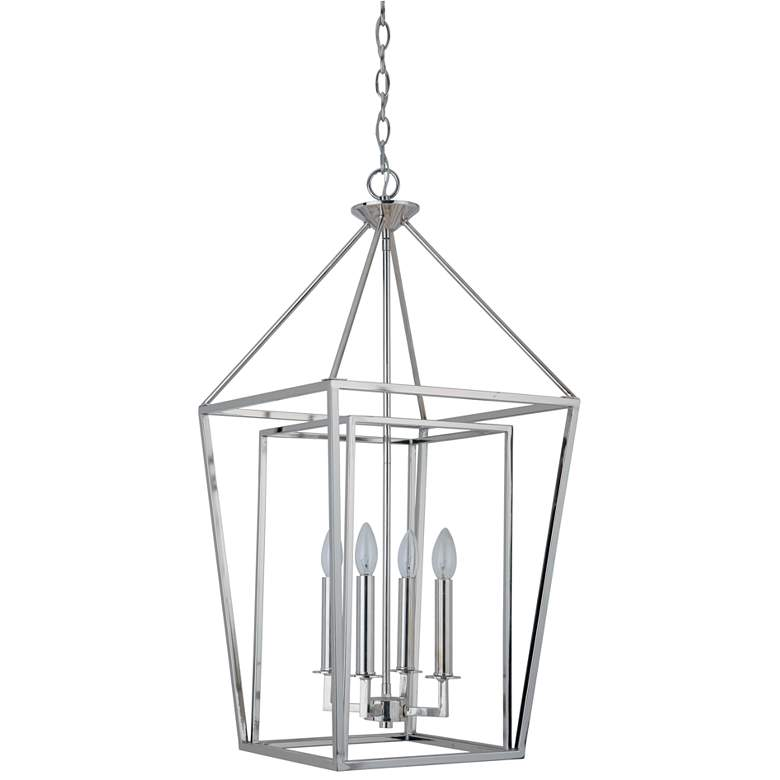 "Hudson 15 3/4"" Wide Polished Nickel 4-Light Foyer Pendant"