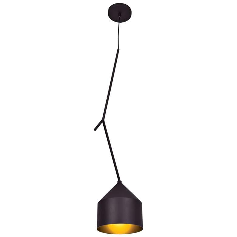 "Pizzazz 8 1/4"" Wide Black and Gold LED Mini Pendant"