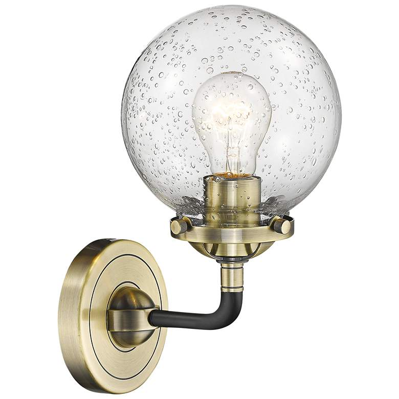 """Beacon 11"""" High Black and Brass Wall Sconce"""