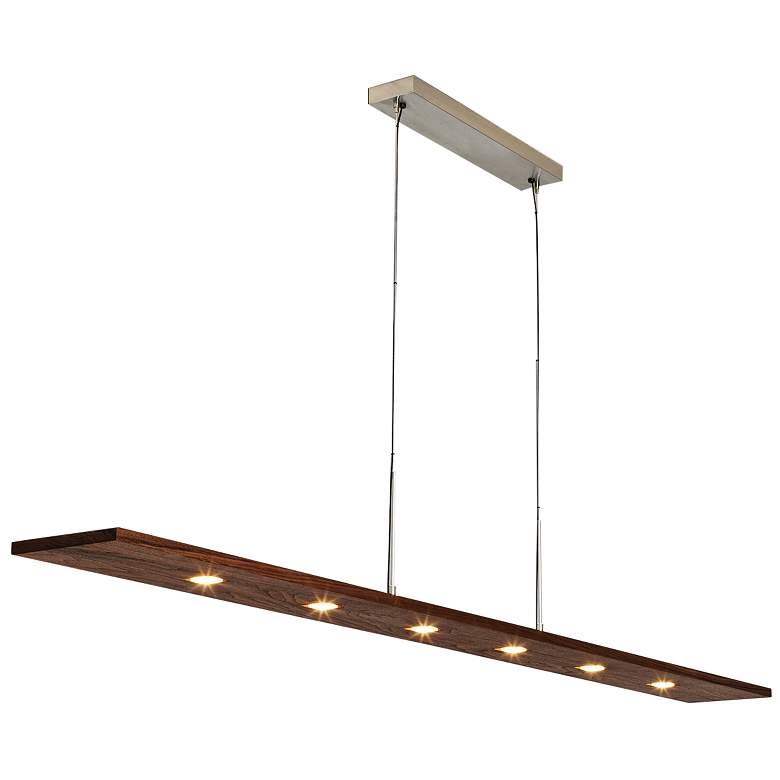 "Cerno Vix 82 82""W Walnut Wood Kitchen Island Light Pendant"