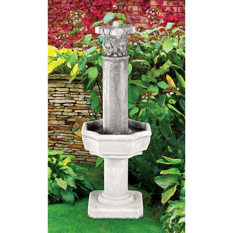 "Four Seasons Column 38""H Trevia Graystone Outdoor Fountain"