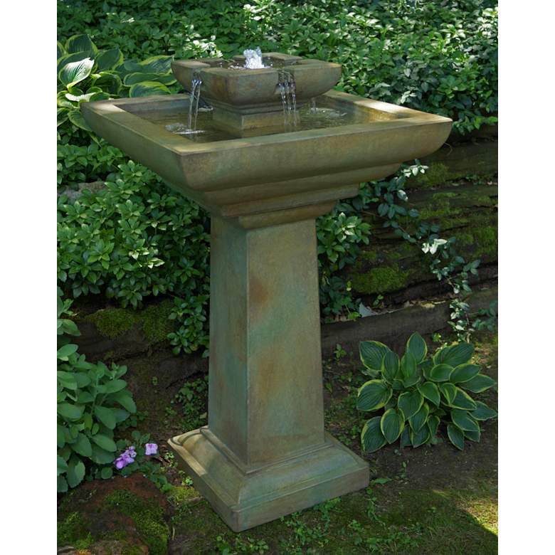 """Falling Water 43"""" High Outdoor Bubbler Fountain with Light"""