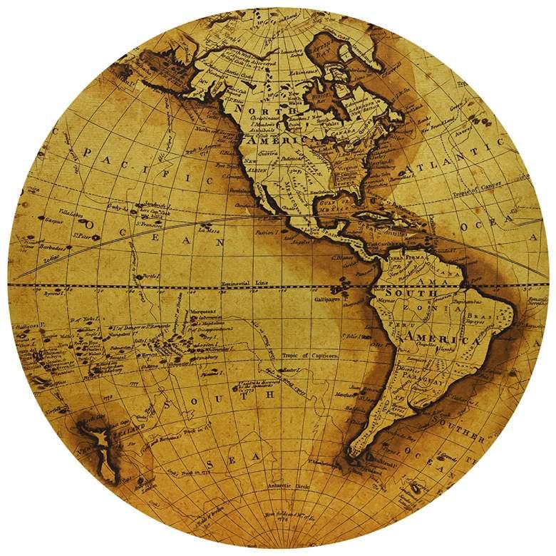 "Hemisphere A 24"" Circular Giclee Gold Canvas Wall Art"