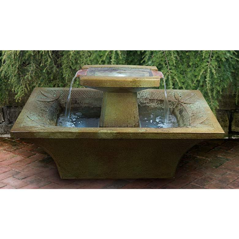 "Art-Deco 20"" Relic Stone Outdoor Fountain with LED Light"