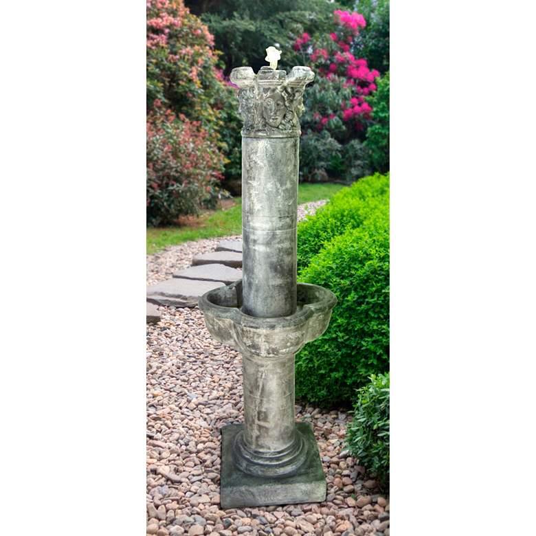 "Four Seasons Column 63"" High Frosted Mocha Outdoor Fountain"