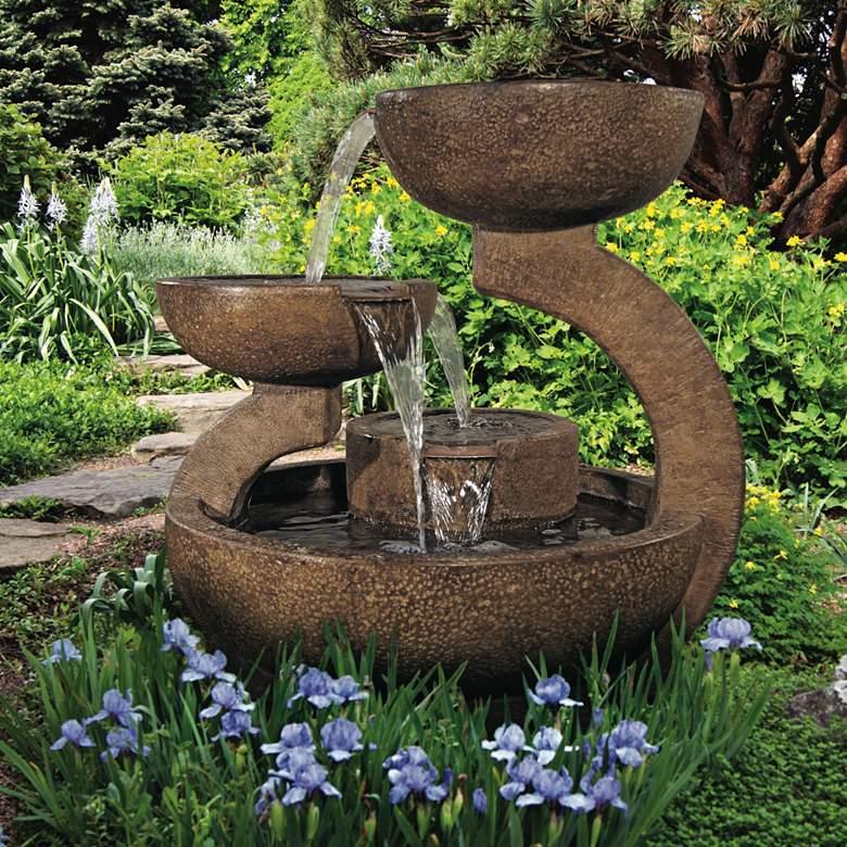 "Zen Three-Bowl 32 1/2"" High Relic Lava LED Outdoor Fountain"