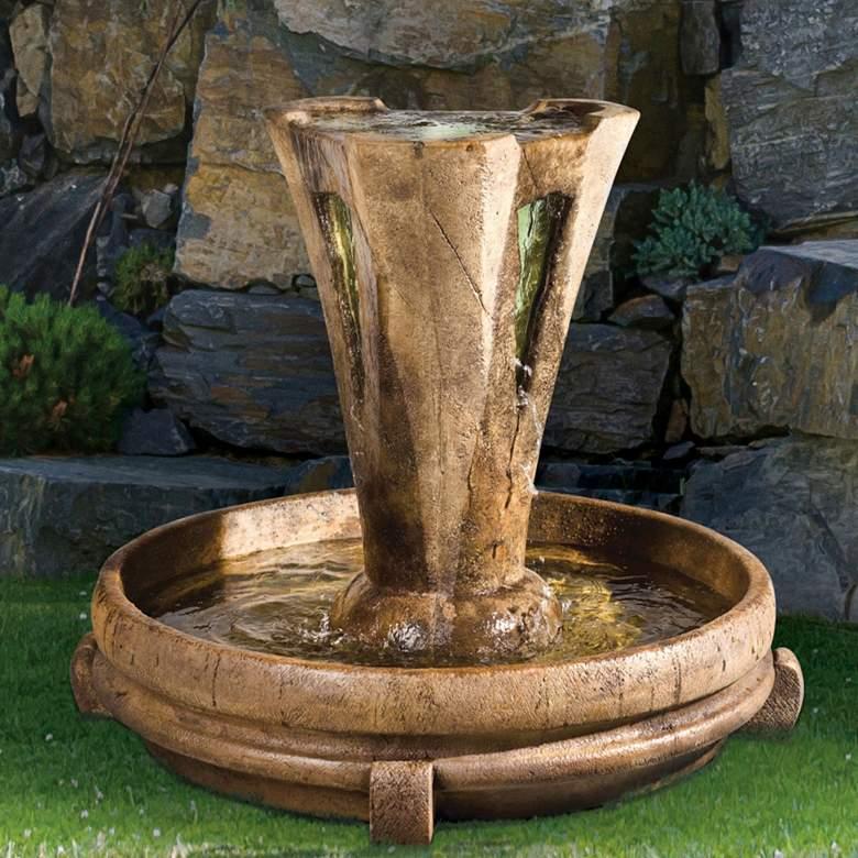 """Small Vesuvio 34"""" High Relic Lava Outdoor Fountain w/ Light"""