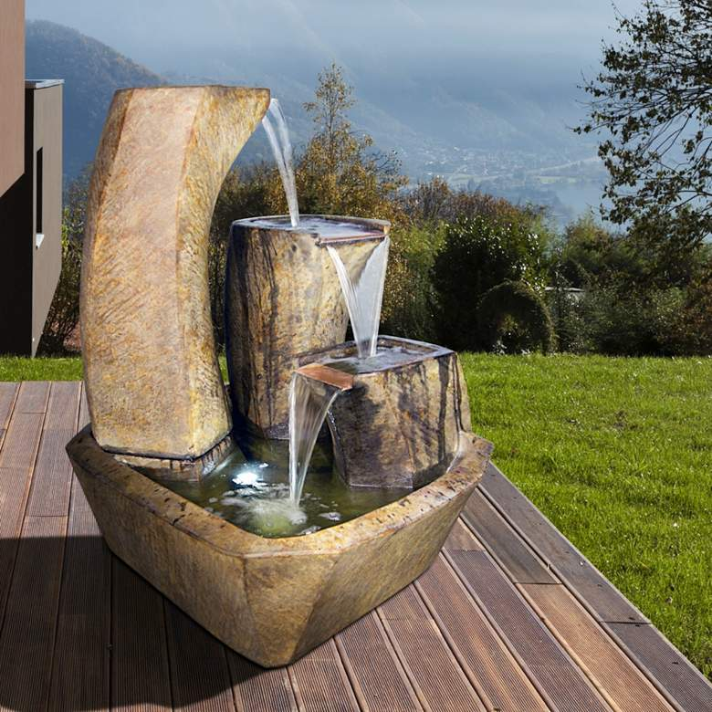 """Curving Vessels 35"""" High Relic Lava LED Outdoor Fountain"""