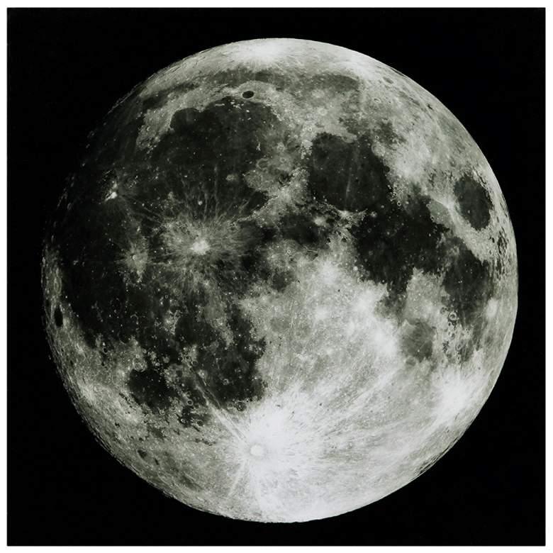 """Full Moon 40"""" Square Frameless Tempered Glass Wall Art"""