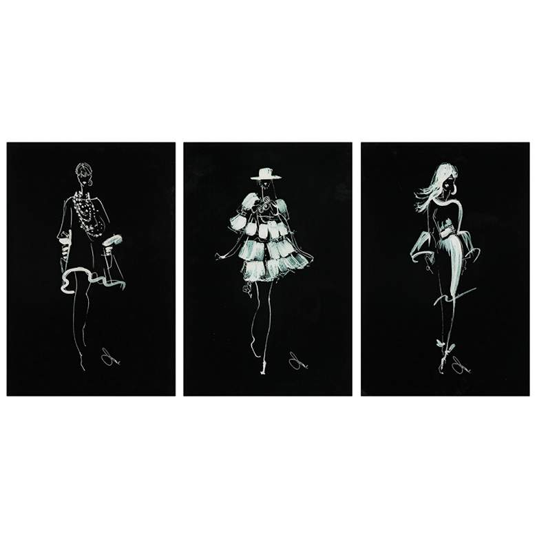 "Fashion Walk 24"" High 3-Piece Frameless Glass Wall Art Set"