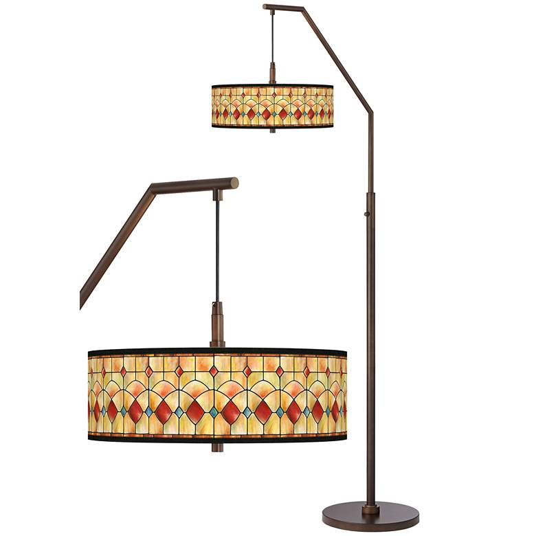 Tiffany-Style Reds Bronze Downbridge Arc Floor Lamp