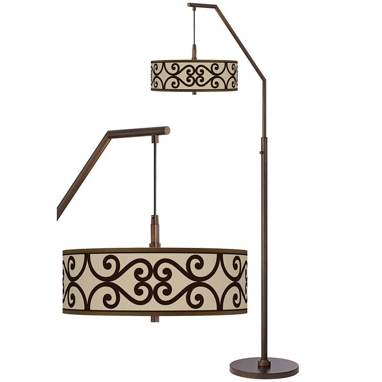 Cambria Scroll Bronze Downbridge Arc Floor Lamp