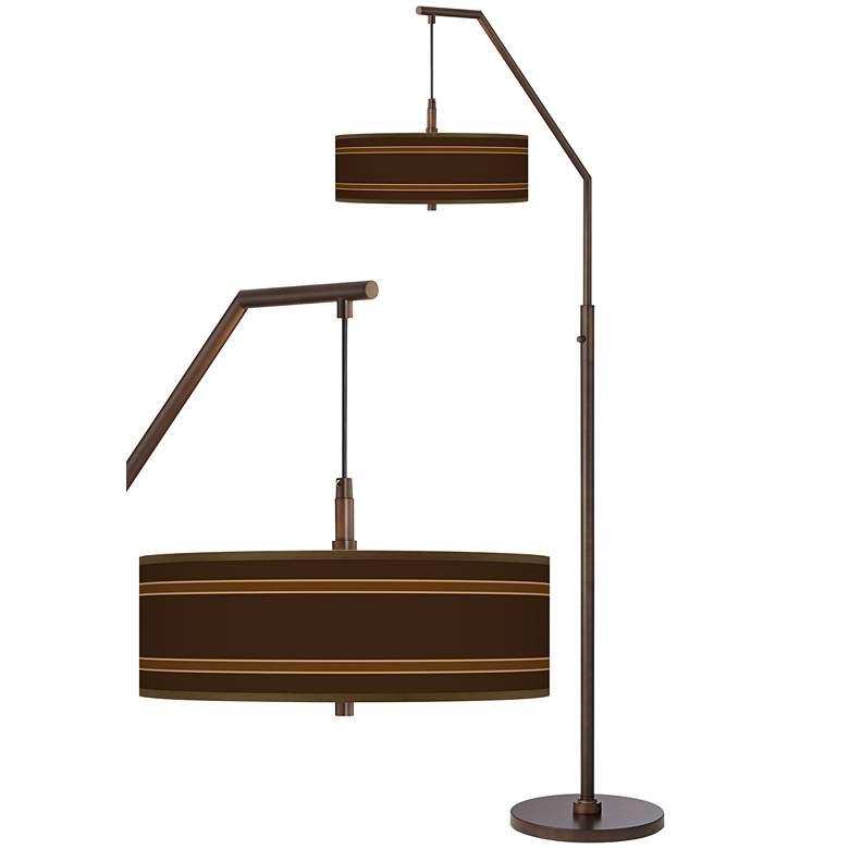 Saratoga Stripe Bronze Downbridge Arc Floor Lamp