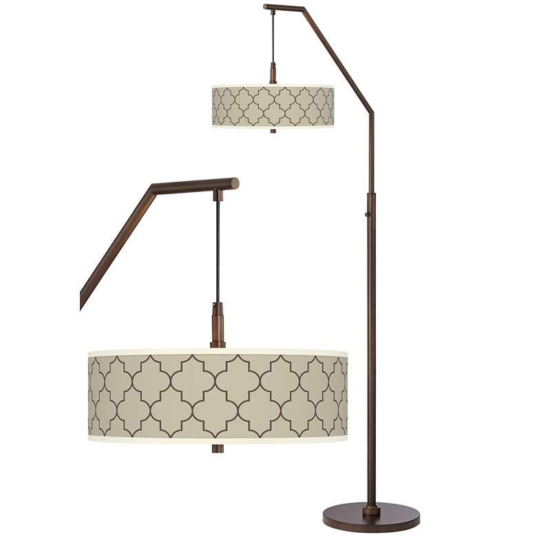 Tangier Taupe Bronze Downbridge Arc Floor Lamp