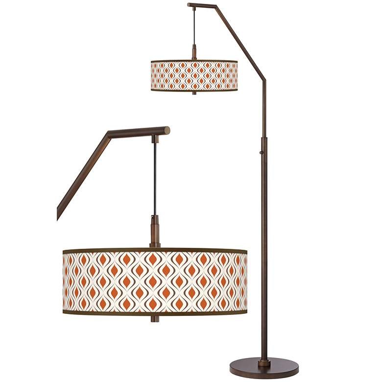 Retro Lattice Bronze Downbridge Arc Floor Lamp