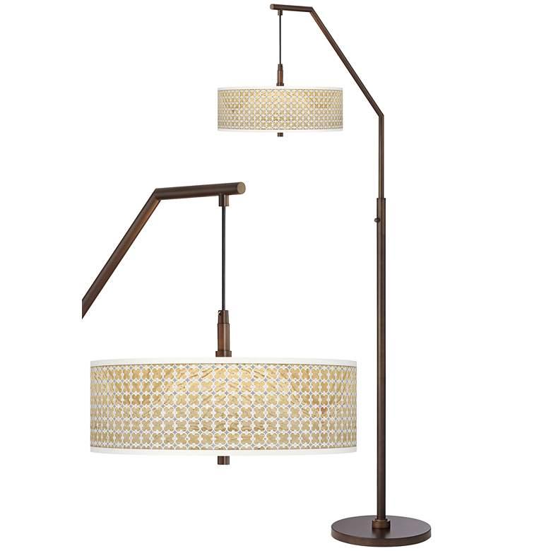 Marble Quatrefoil Bronze Downbridge Arc Floor Lamp