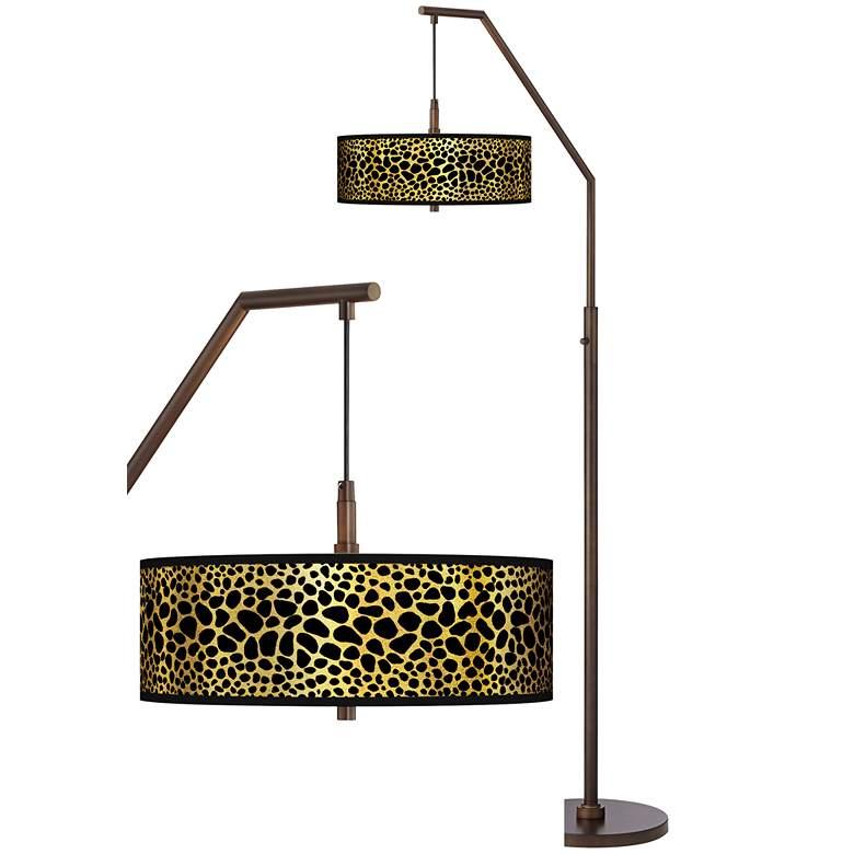 Leopard Gold Metallic Bronze Downbridge Arc Floor Lamp