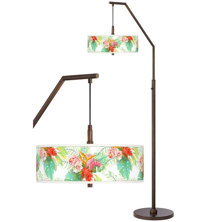Island Floral Bronze Downbridge Arc Floor Lamp