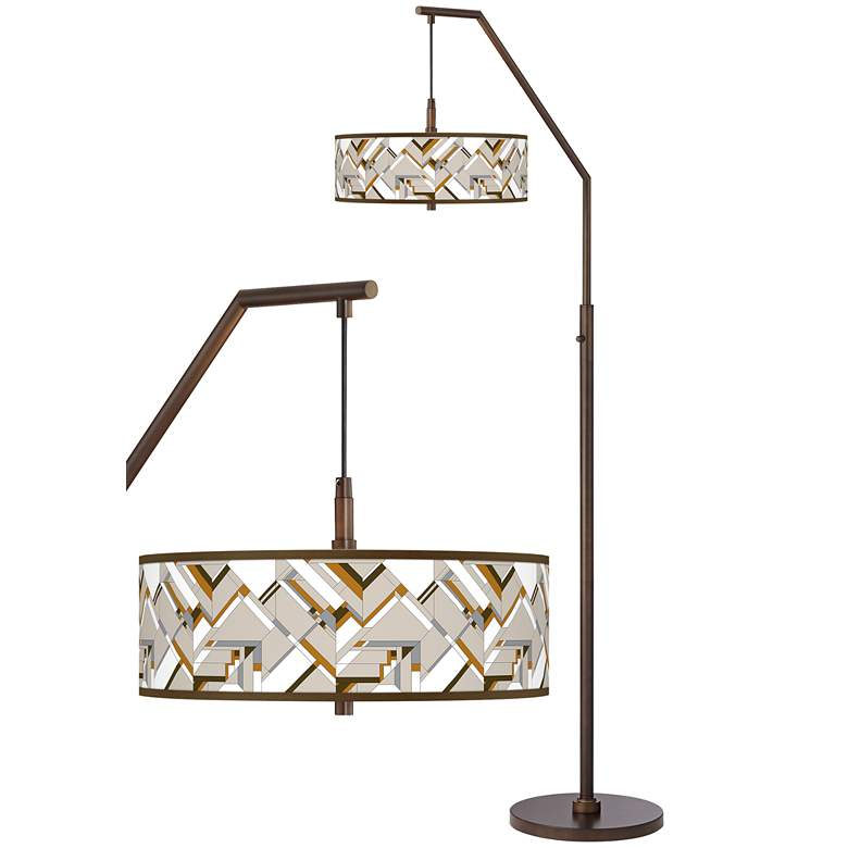 Craftsman Mosaic Bronze Downbridge Arc Floor Lamp