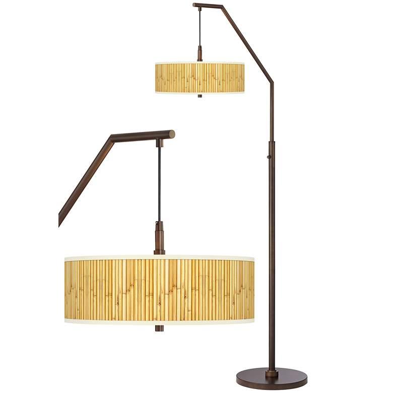Bamboo Mat Bronze Downbridge Arc Floor Lamp