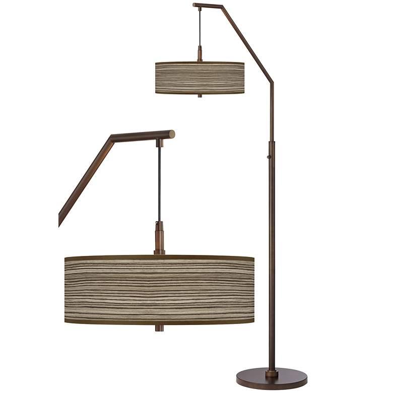 Cedar Zebrawood Bronze Downbridge Arc Floor Lamp