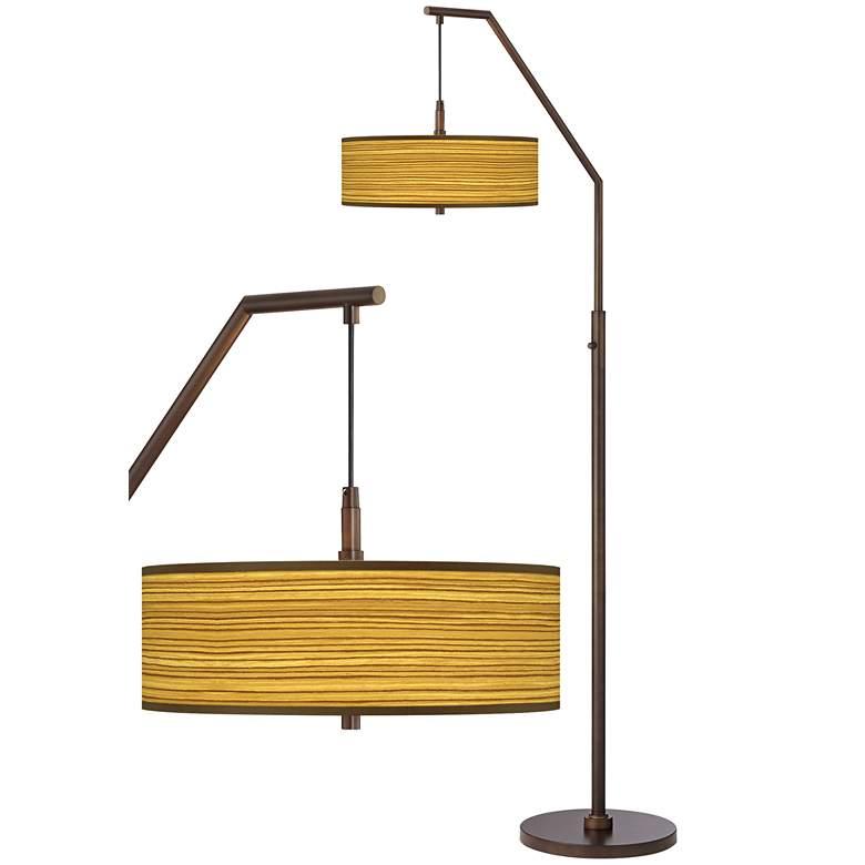 Tawny Zebrawood Bronze Downbridge Arc Floor Lamp