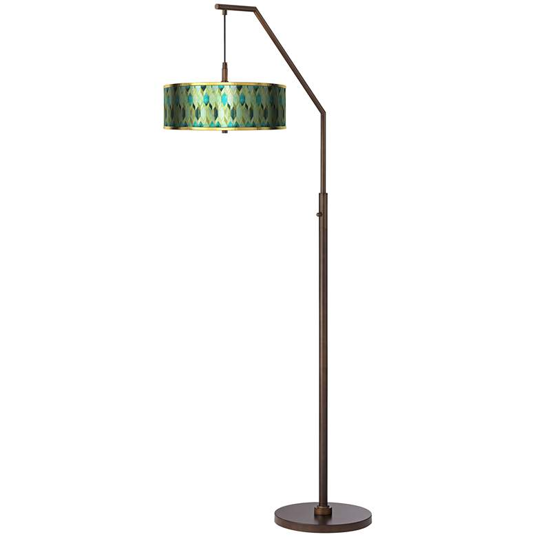 Blue Tiffany-Style Gold Metallic Downbridge Arc Floor Lamp