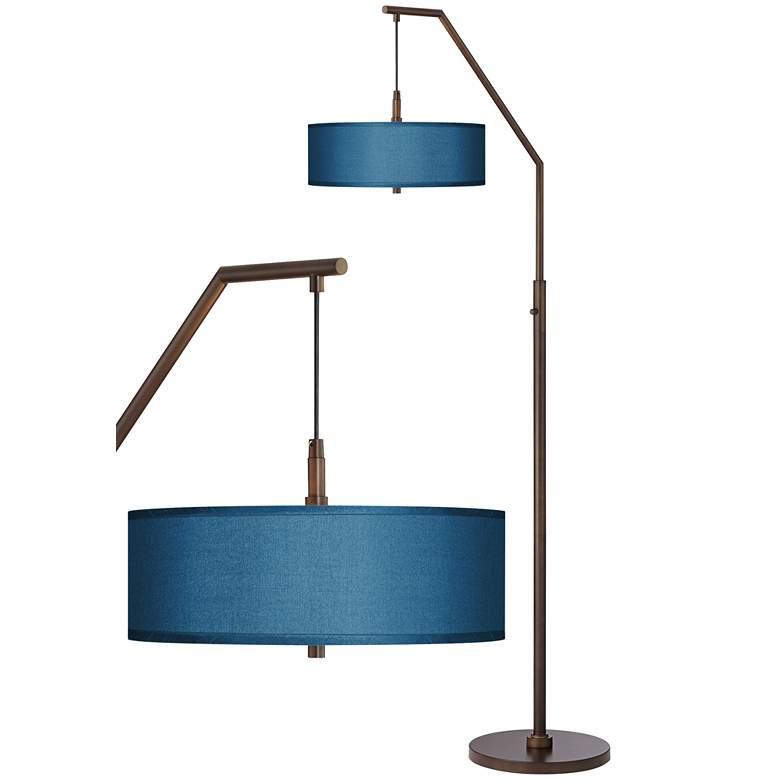 Blue Polyester Bronze Downbridge Arc Floor Lamp