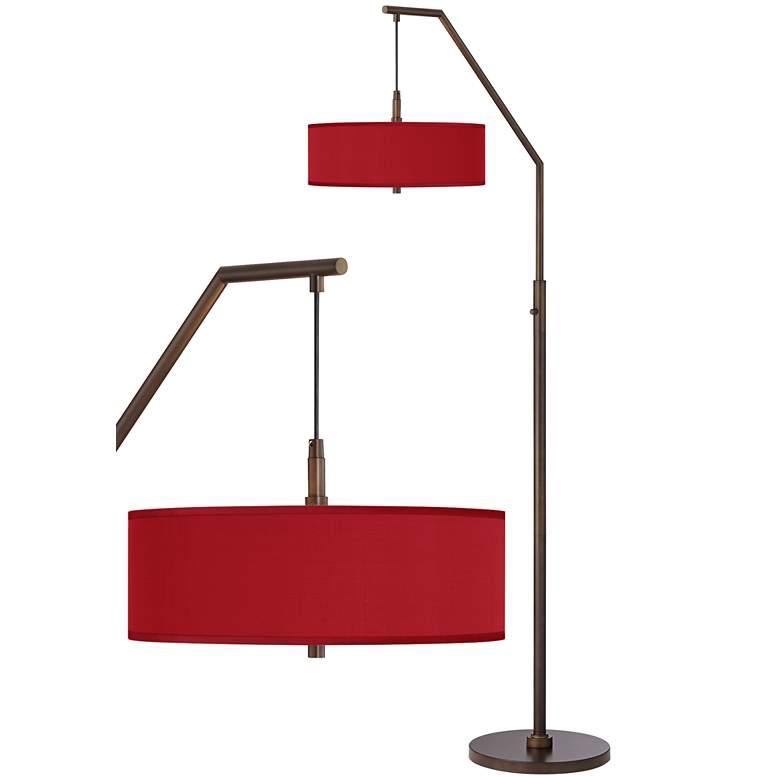 Red Faux Polyester Bronze Downbridge Arc Floor Lamp