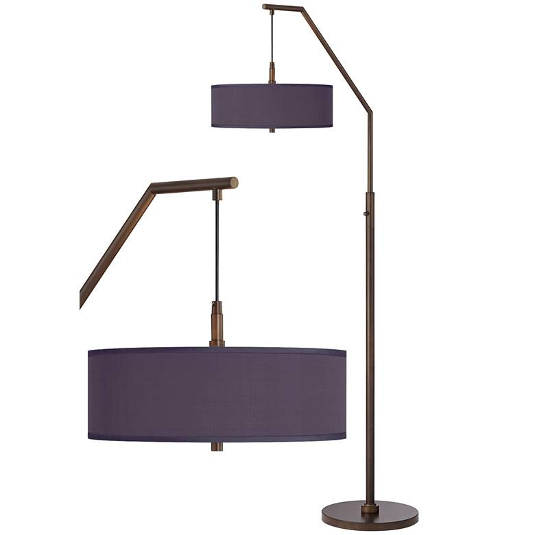Eggplant Polyester Bronze Downbridge Arc Floor Lamp