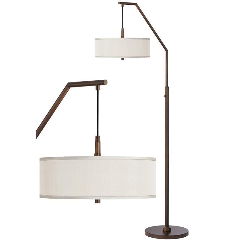 Cream Polyester Bronze Downbridge Arc Floor Lamp