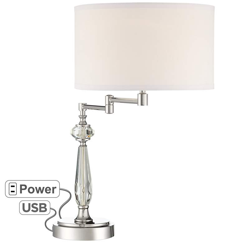 Amira Crystal Swing Arm Desk Lamp with USB Port and Outlet