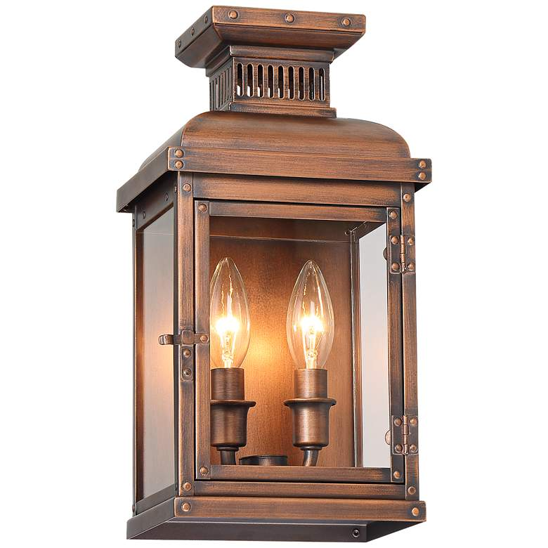 """Possini Euro Cobb 13 1/2""""H Painted Copper Outdoor Wall Light"""