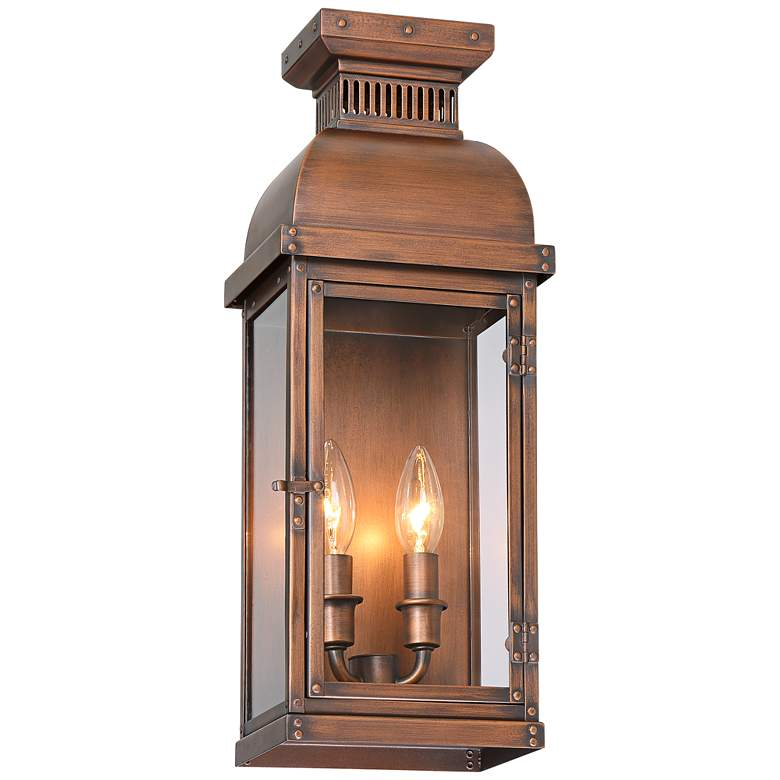 """Possini Euro Cobb 18""""H Painted Copper Outdoor Wall Light"""