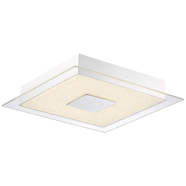 "Possini Euro Crystal Sand 14"" Wide Square LED Ceiling Light"