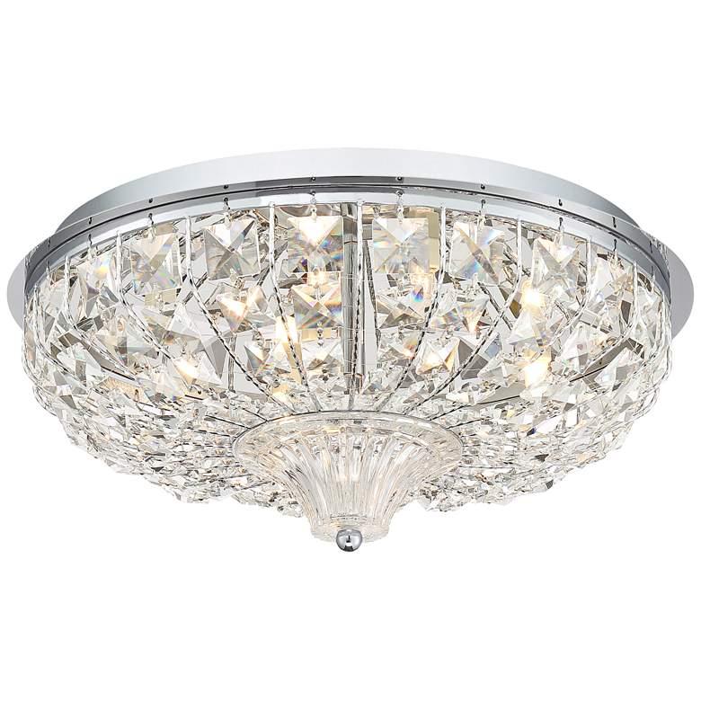 "Jenn 15 1/2""W Chrome and Crystal LED Ceiling Light"