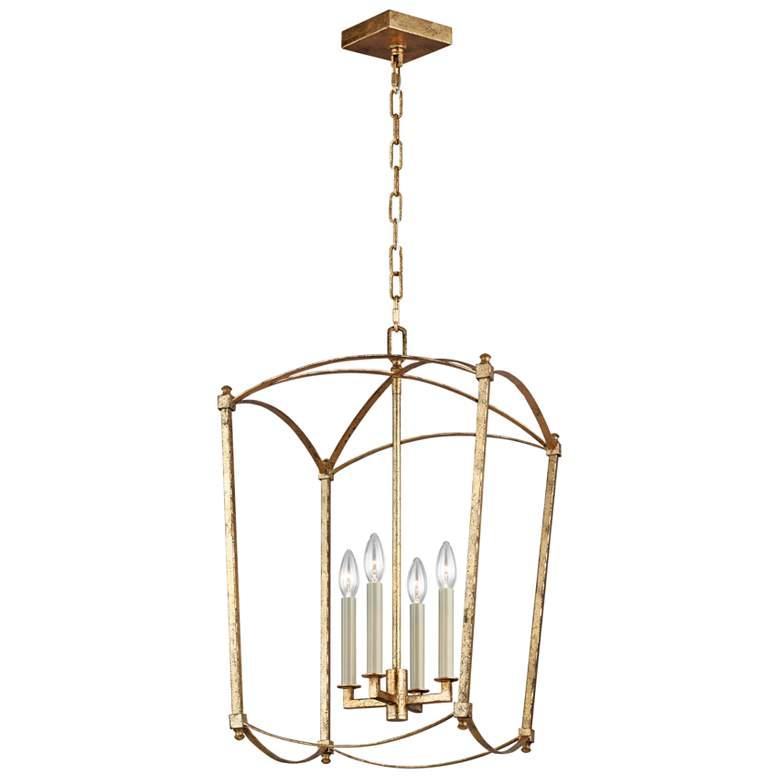 "Feiss Thayer 16""W 4-Light Antique Guild Lantern Chandelier"