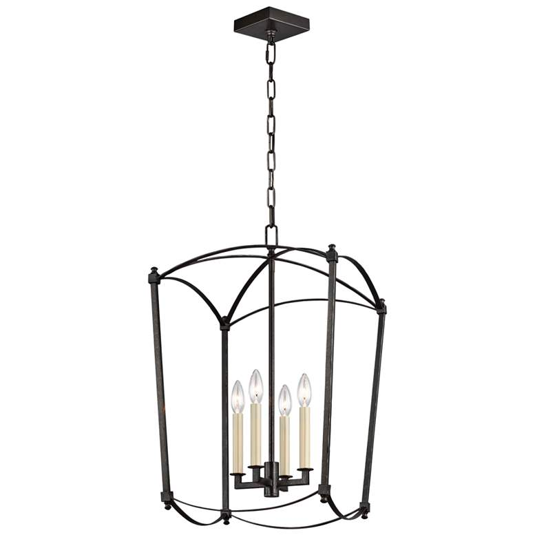 "Feiss Thayer 16"" Wide 4-Light Smith Steel Lantern Chandelier"