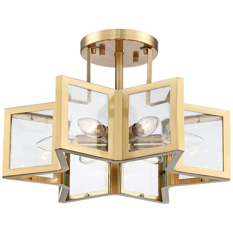 """Casa Star 16"""" Wide Warm Antique Brass 6-Light Ceiling Light"""