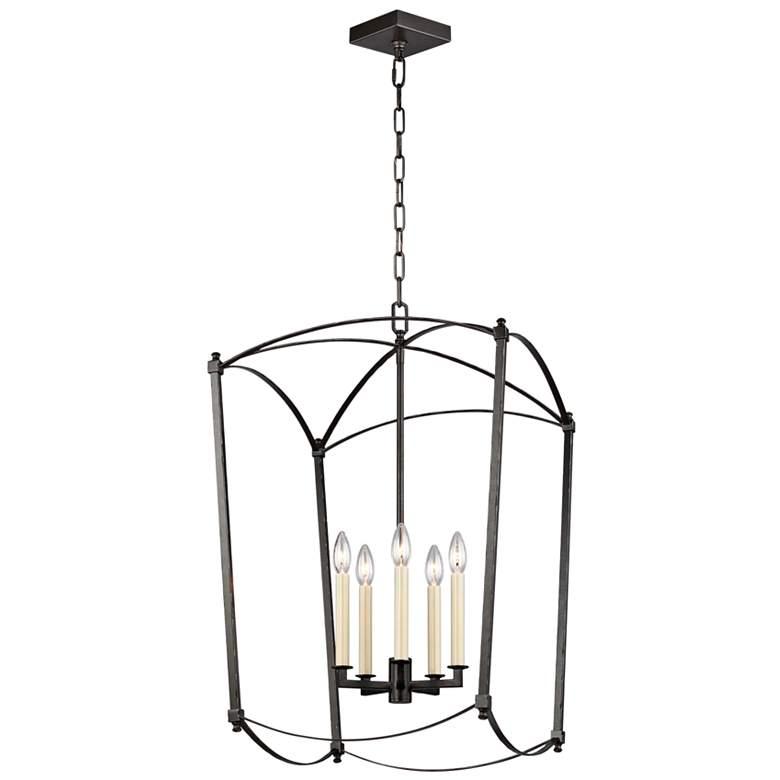 "Feiss Thayer 19 1/4""W 5-Light Smith Steel Lantern Chandelier"