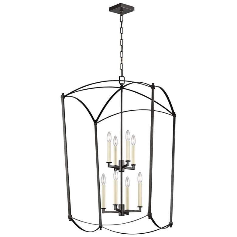 "Feiss Thayer 24"" Wide 8-Light Smith Steel Lantern Chandelier"