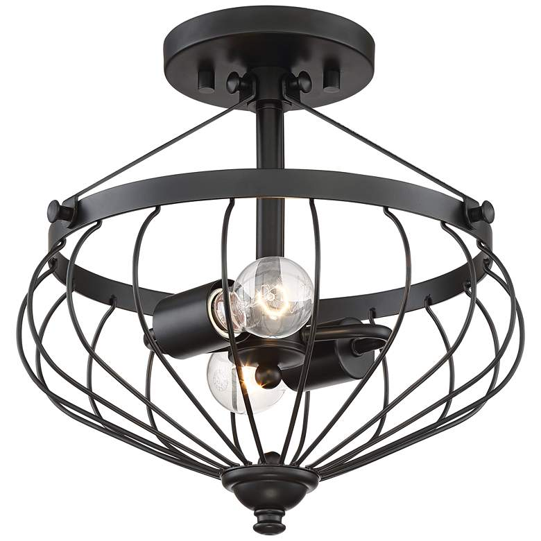 "Wilson 13 3/4"" Wide Black Tulip Cage 2-Light Ceiling Light"