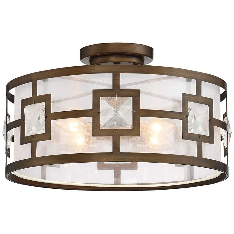 "Possini Euro Deco Bling 16"" Wide Warm Bronze Ceiling Light"