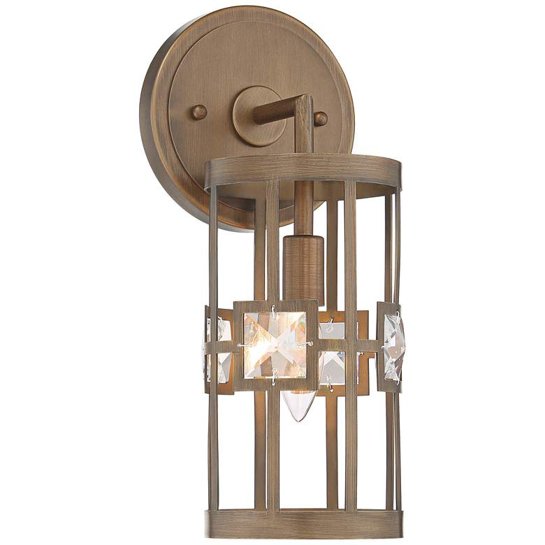 "Possini Euro Deco Bling 14"" High Warm Bronze Wall Sconce"