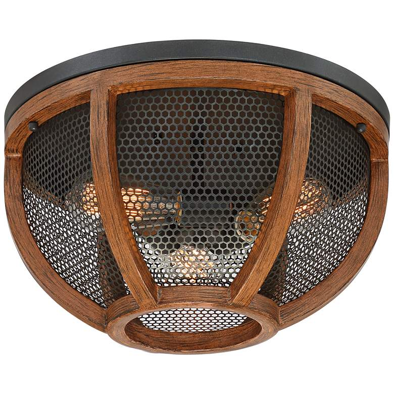 "Possini Euro Eleri 13"" Wide Wood and Mesh Dome Ceiling Light"