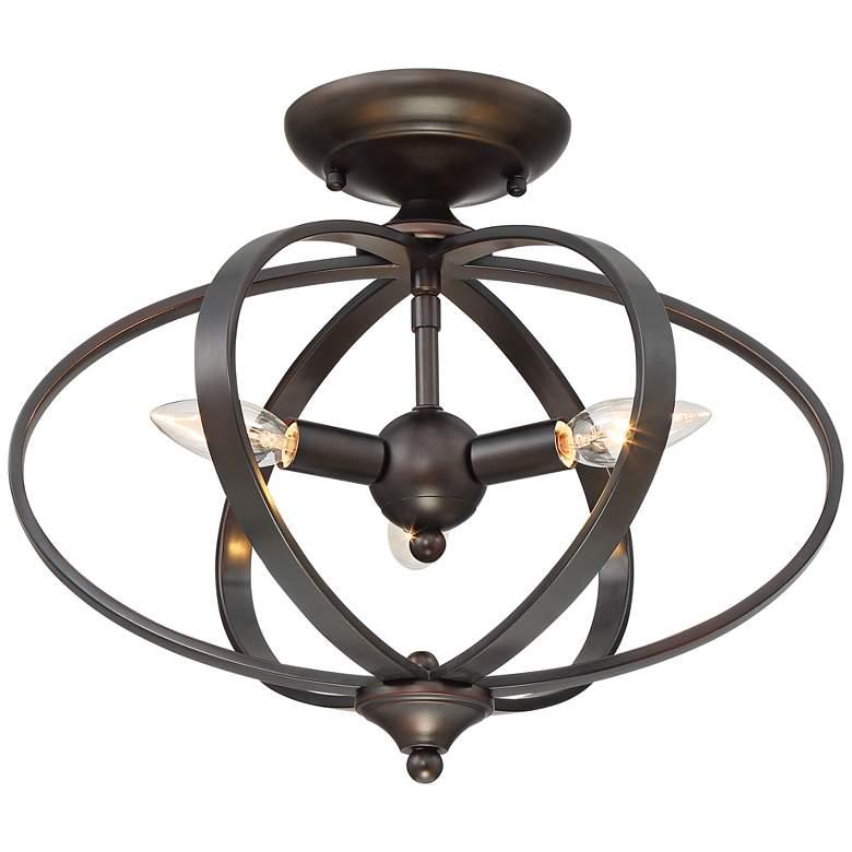 """Possini Euro Kerys 16"""" Wide Oil-Rubbed Bronze Ceiling Light"""