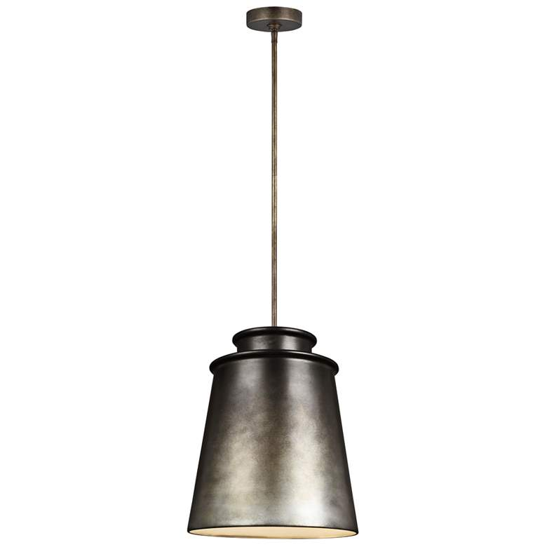 "Feiss Fiona 15"" Wide Oil Can Gray Pendant Light"