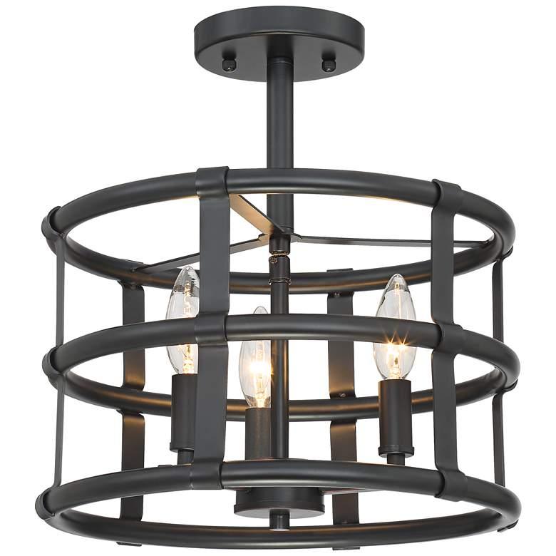 "Possini Euro Markham 13"" Wide Bronze 3-Light Ceiling Light"