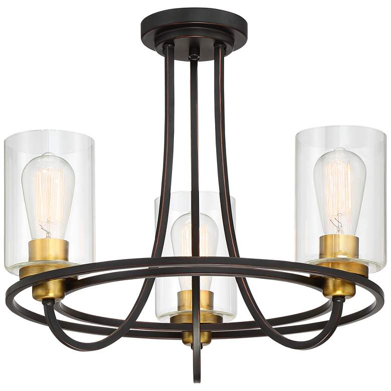 "Possini Euro Demy 20""W 3-Light Bronze and Gold Ceiling Light"